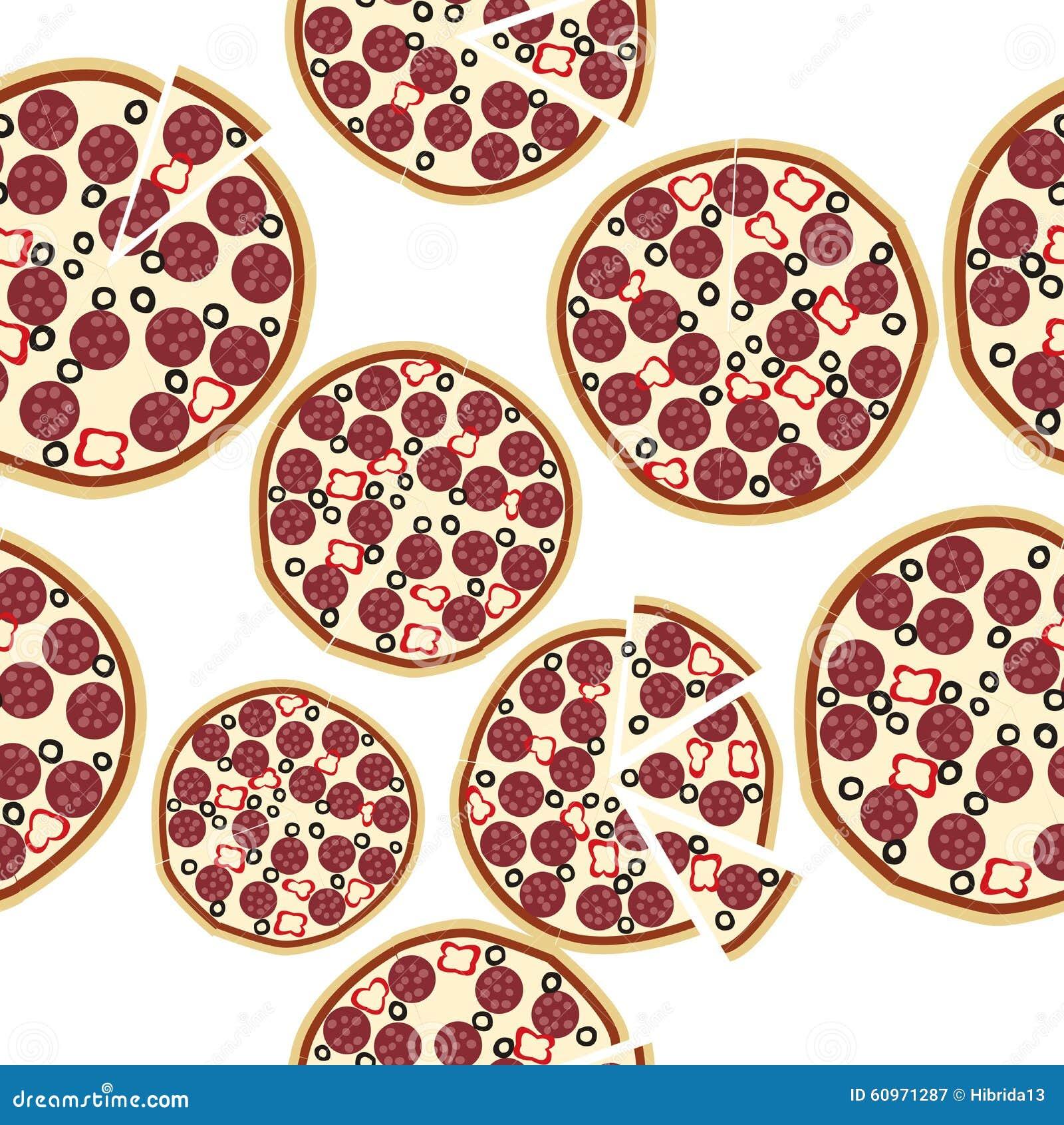 Gesneden verse salamipizza naadloze achtergrond vector illustratie afbeelding 60971287 - Hoek maaltijd ...