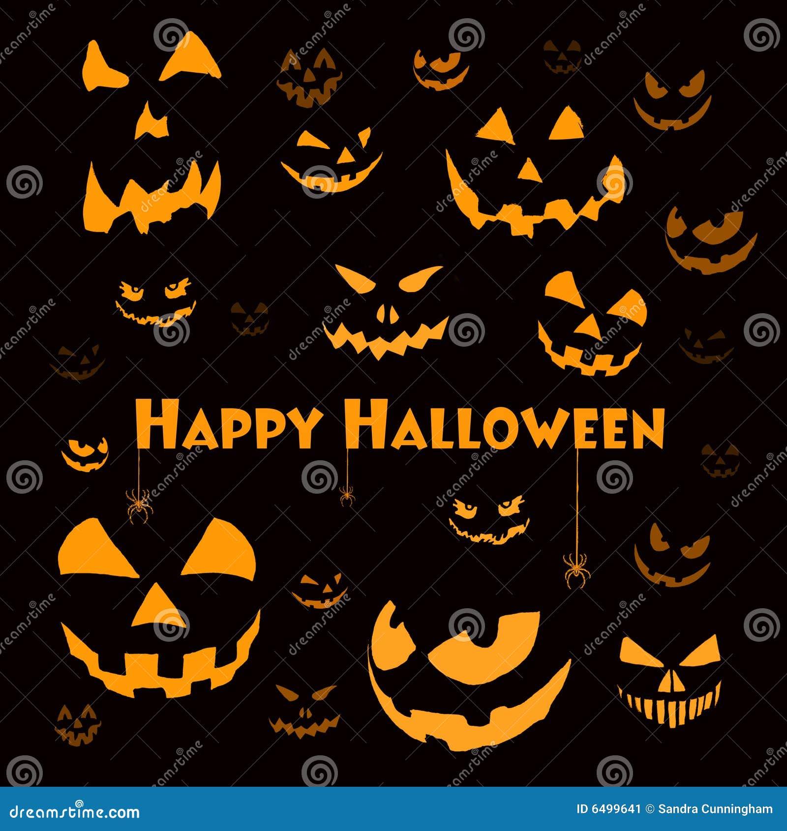 gespenstische halloween gesichter auf schwarzem stockbild bild 6499641. Black Bedroom Furniture Sets. Home Design Ideas