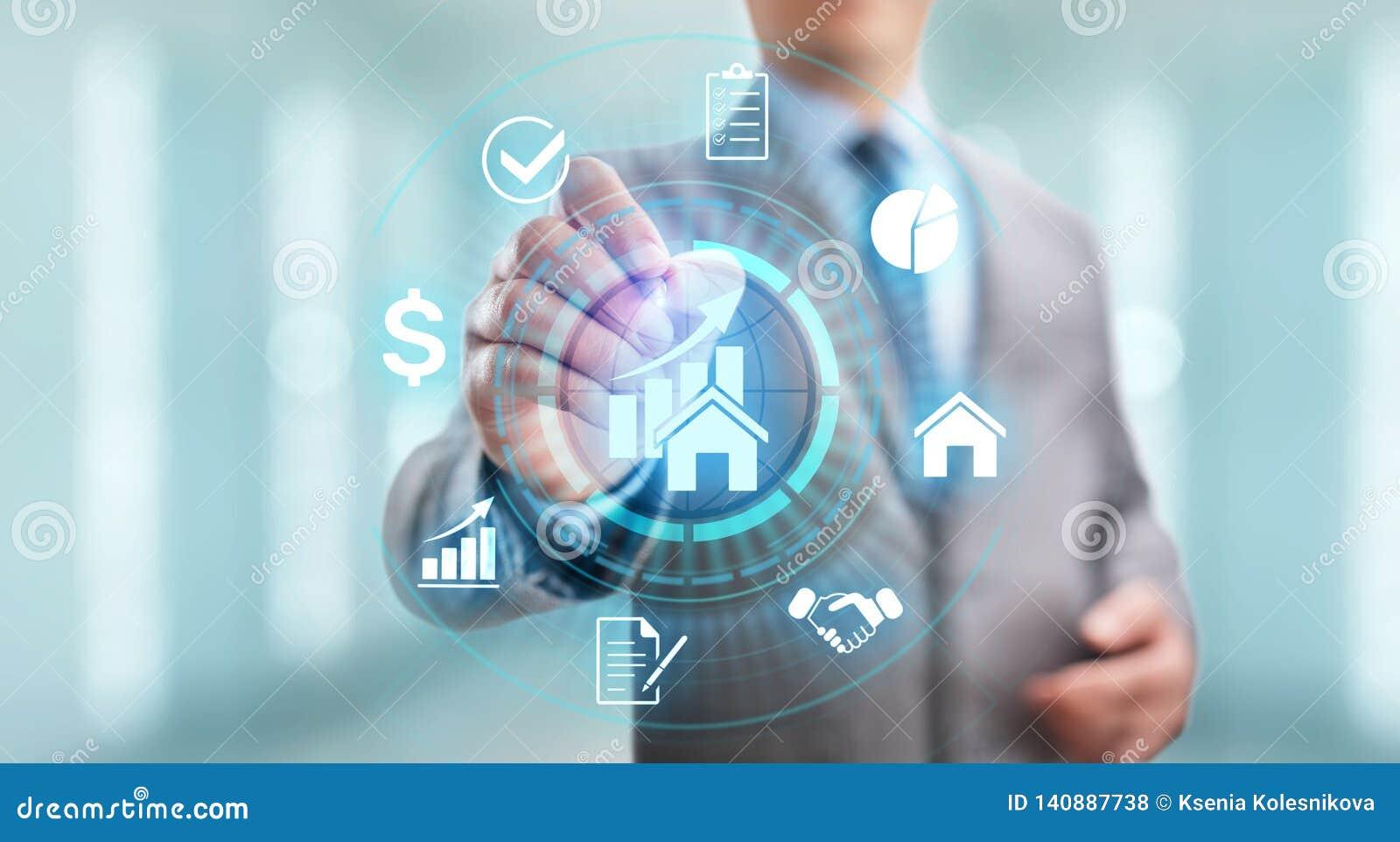 A gestão da propriedade é a operação, o controle, e o descuido de bens imobiliários Conceito do negócio