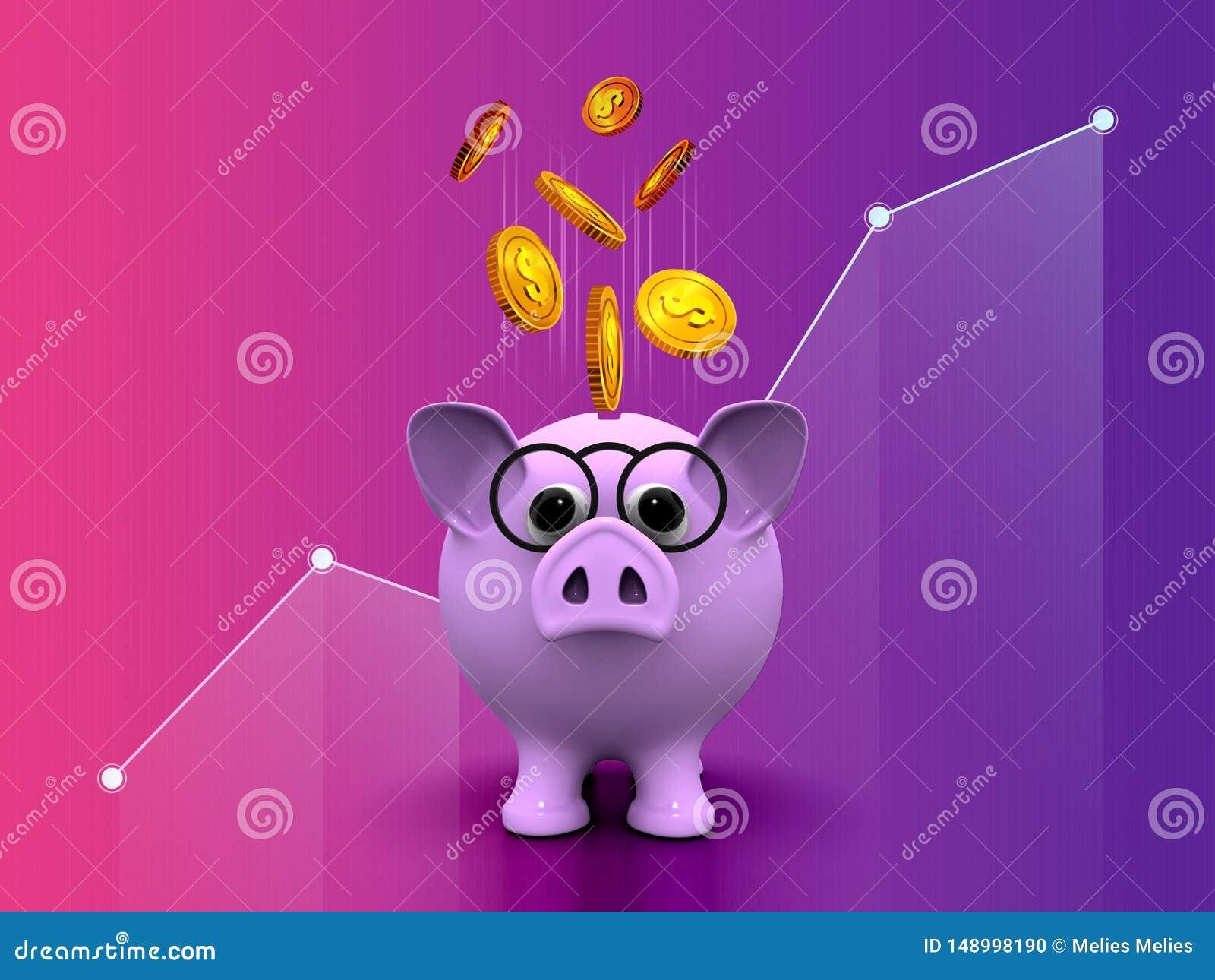 Gestão de investimento empresarial dourada de salvamento da moeda do dólar do mealheiro do dinheiro que introduz no mercado o pro