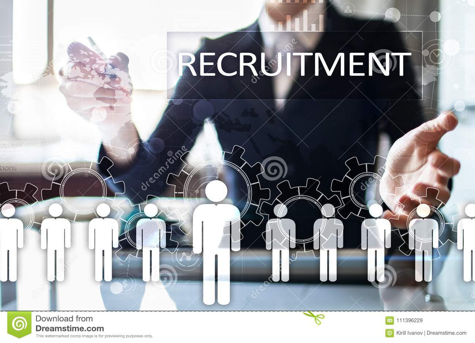 Gestão de recursos humanos, hora, recrutamento, liderança e teambuilding Conceito do negócio e da tecnologia
