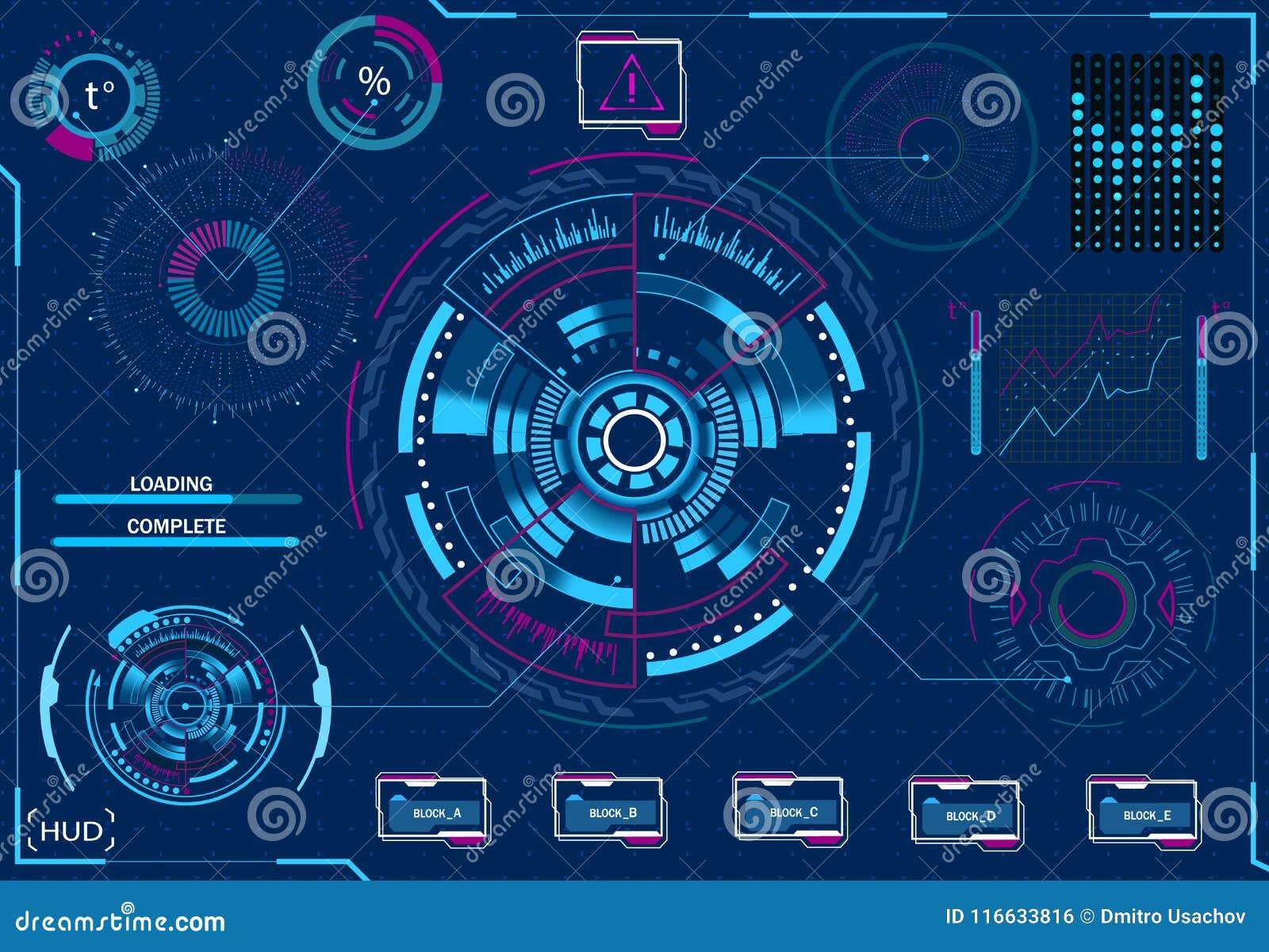 Gestão do computador Equipamento diagnóstico Relação gráfica virtual, lente eletrônica, elementos de HUD Ilustração