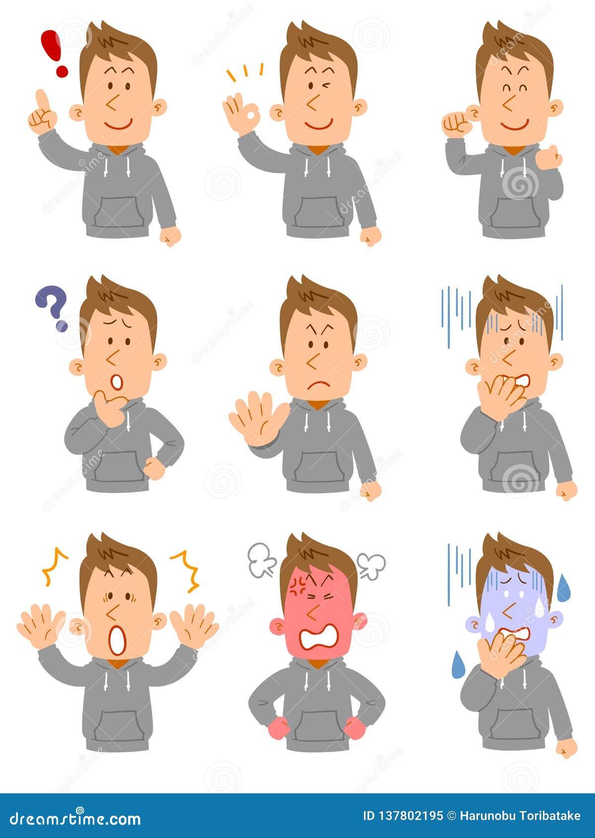 9 gestów górny ciało młody człowiek jest ubranym Parker i pozy