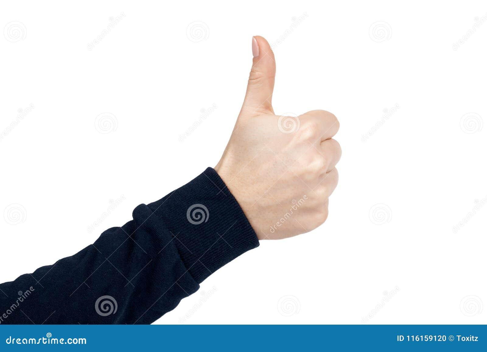 Gest och tecken för kvinnlig handshowtumme övre bakgrund isolerad white Mörker - blå sweater