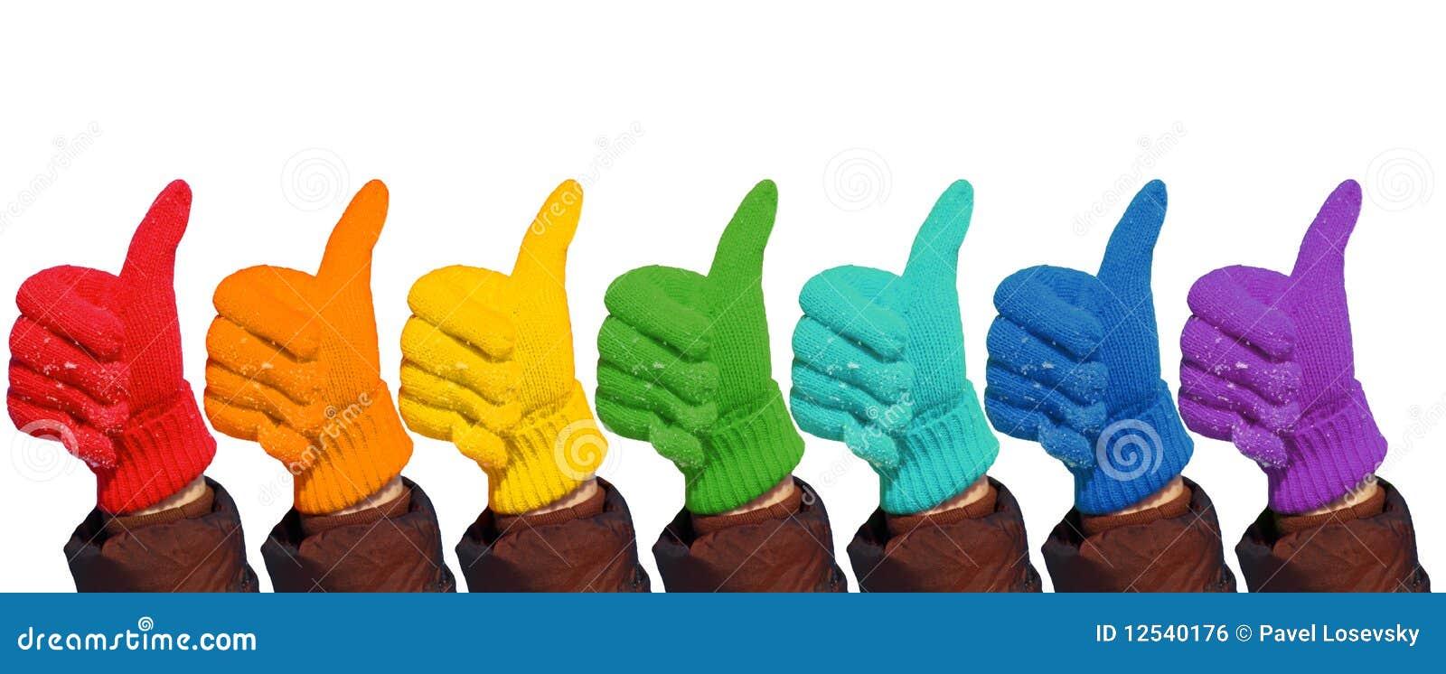 Gesta rękawiczek ręki ok tęczy przedstawienie biel