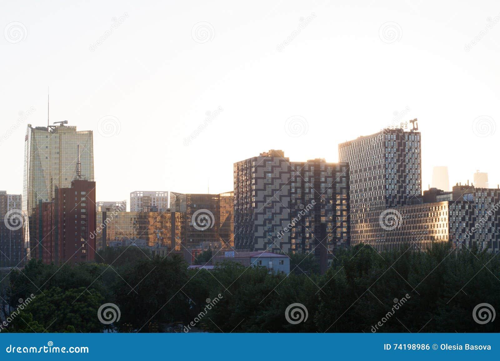 Gestalten Sie mit dem Bild von skycrapers in Peking landschaftlich