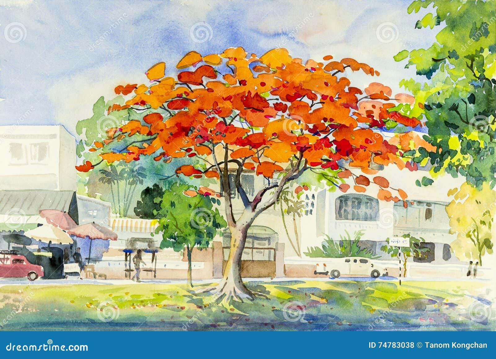 Gestalten Sie ursprüngliches buntes des Pfaublumenbaums und -gefühls landschaftlich