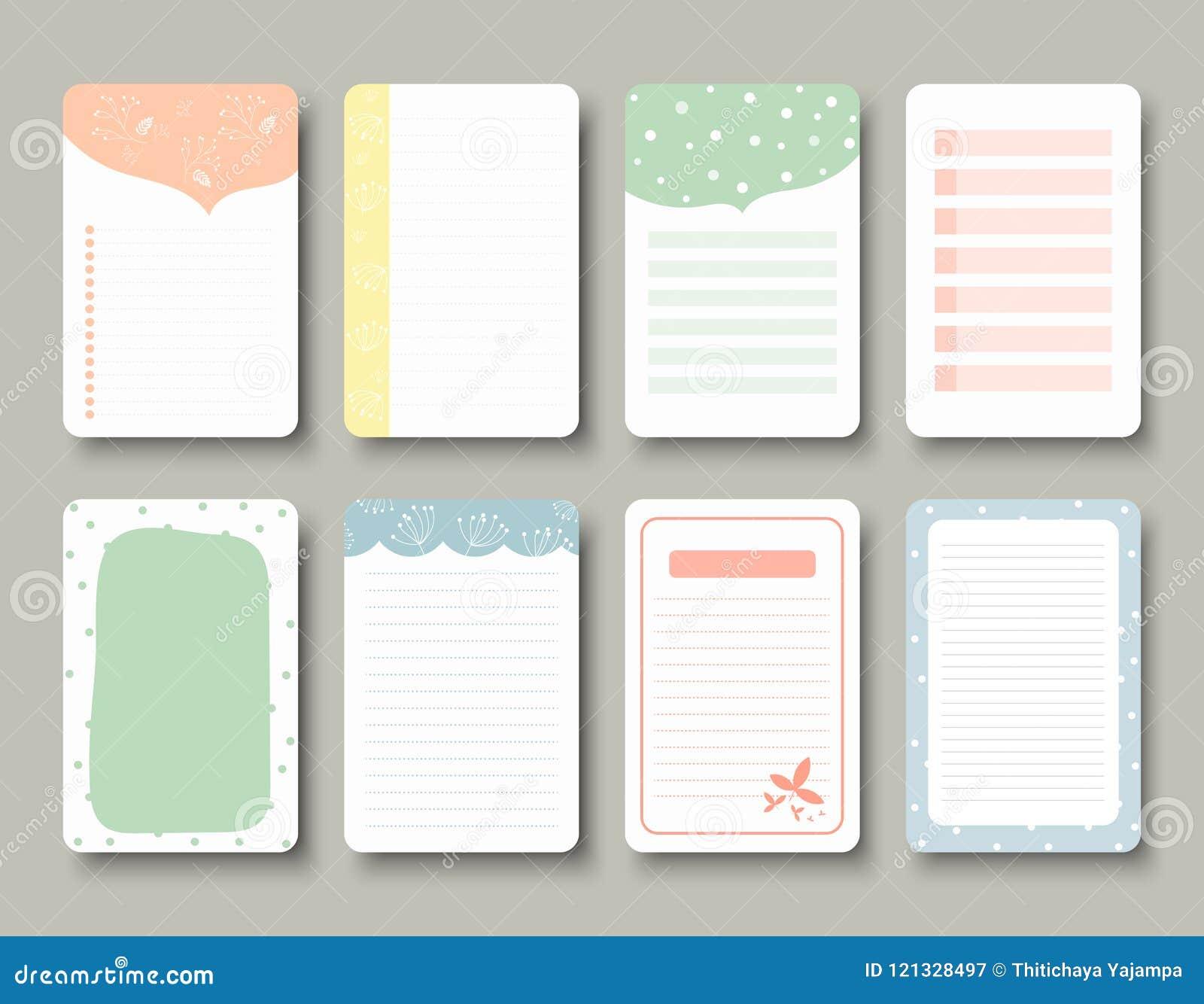 Gestaltungselemente für Notizbuch, Tagebuch, Aufkleber und andere Schablone Vektor, Illustration