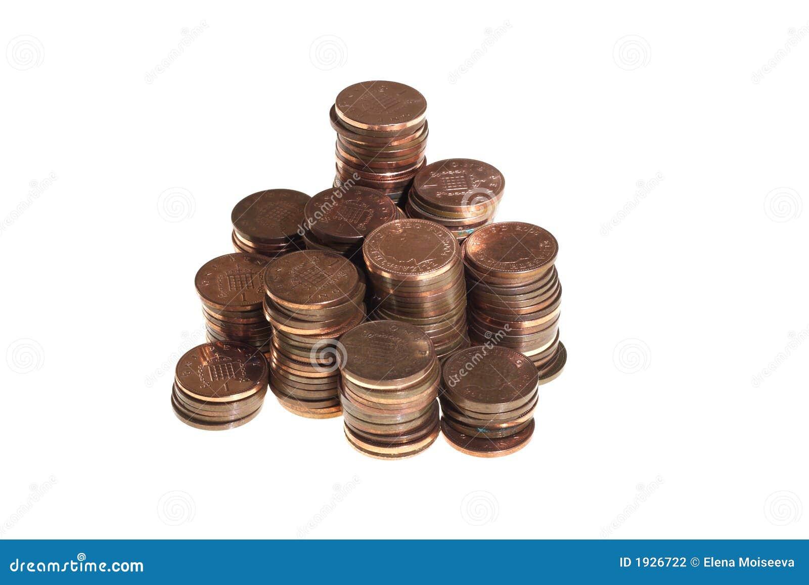 Gestapeld één pence muntstukken