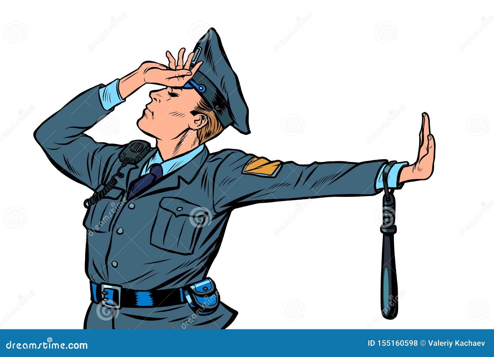 Geste caucasien de démenti de honte de policier pas