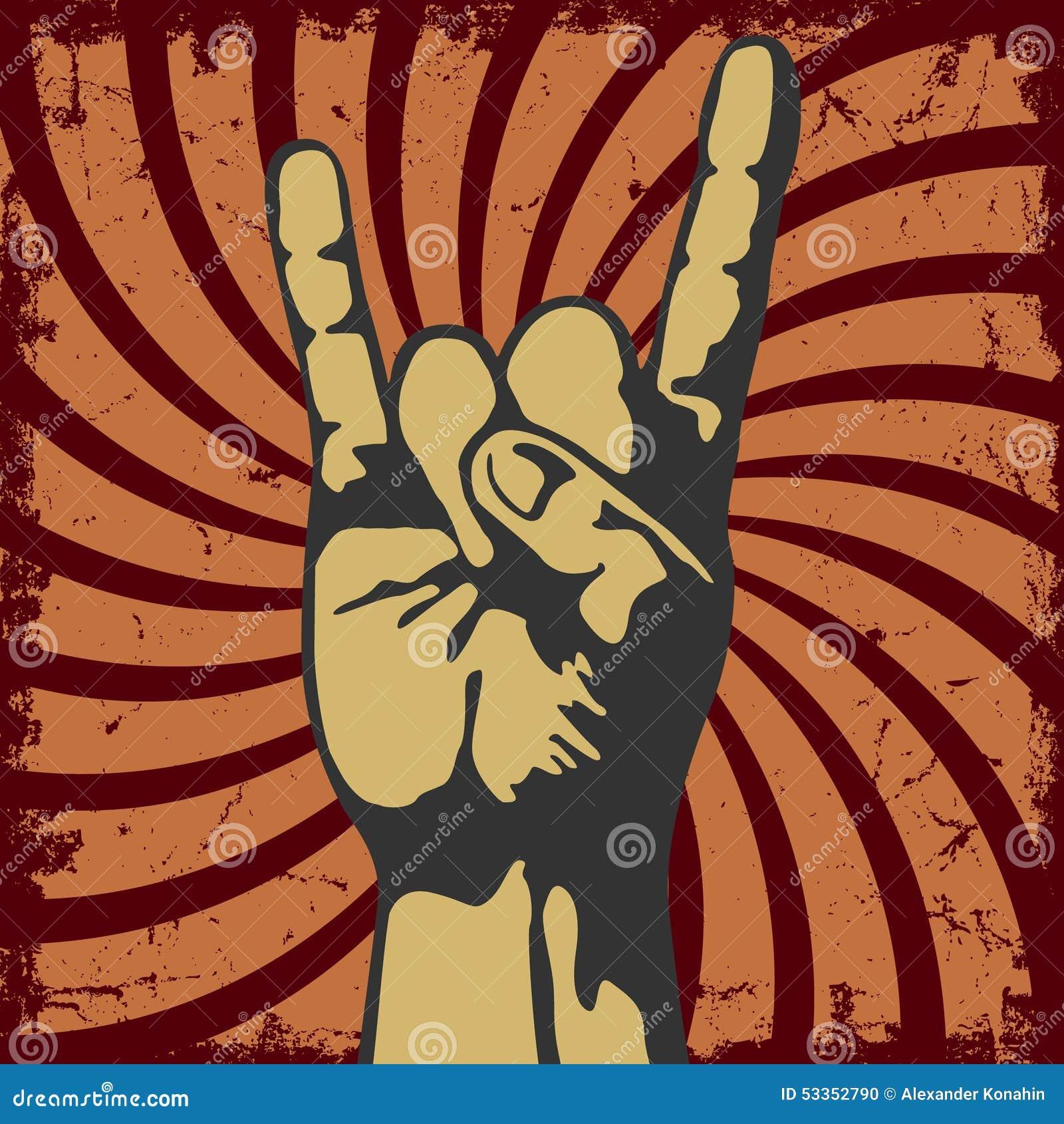 Geste de main dans un grunge de vecteur