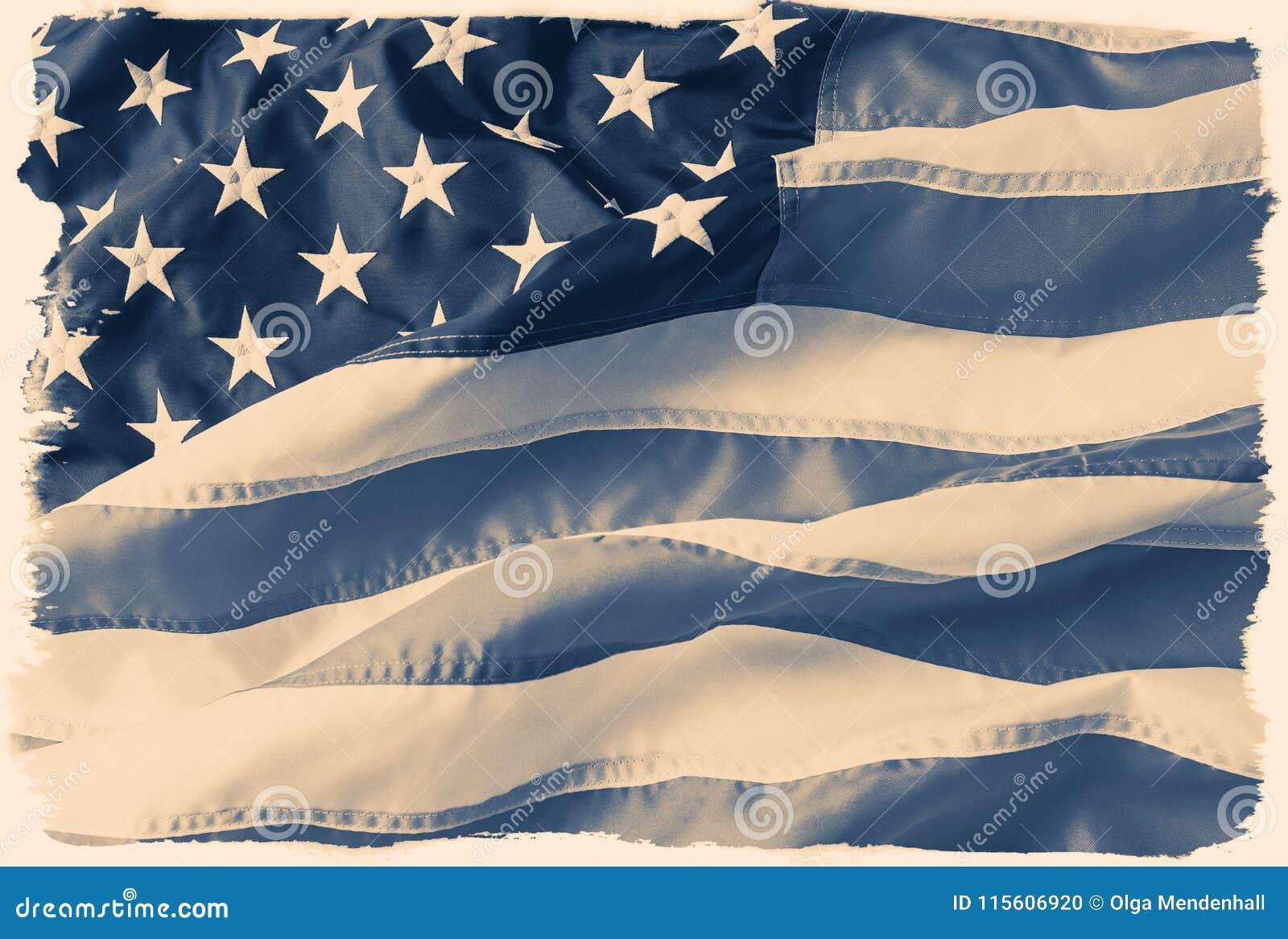 Gestemde, langzaam verdwenen, desaturated Amerikaanse vlag met een uitstekende filmgrens