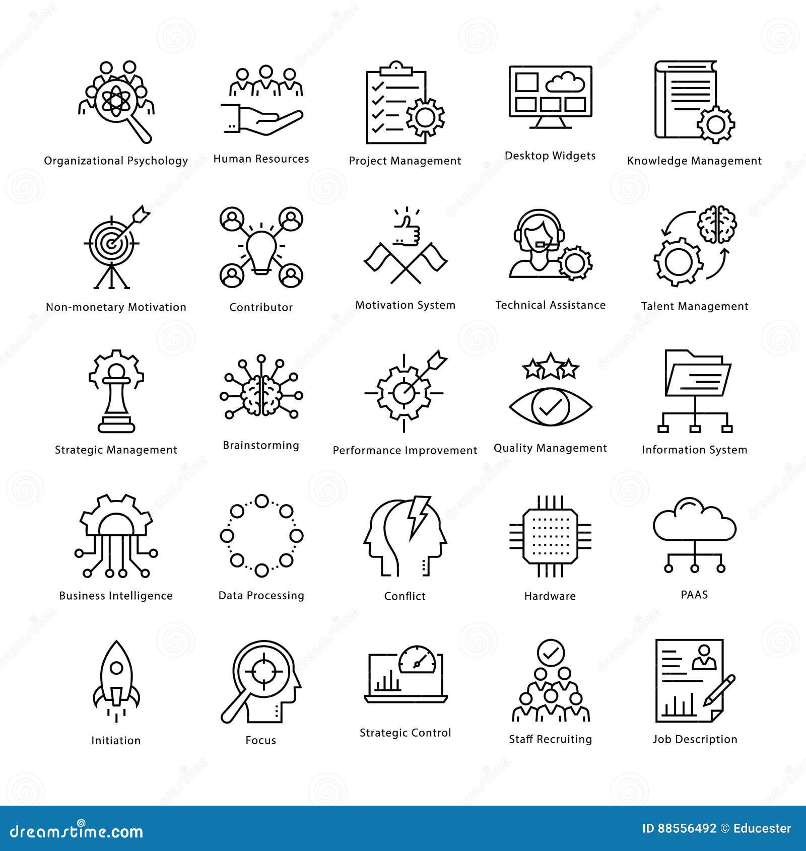 Gestión de negocio y línea iconos 24 del vector del crecimiento