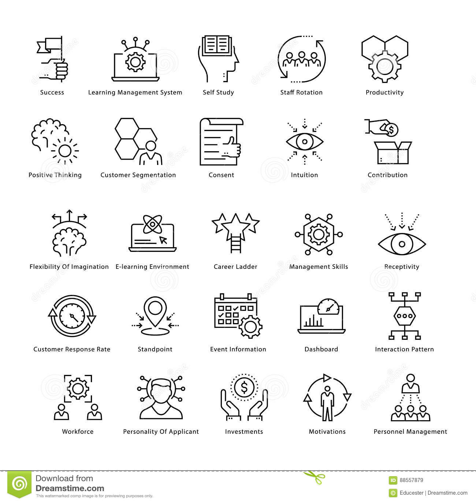 Gestión de negocio y línea iconos 46 del vector del crecimiento