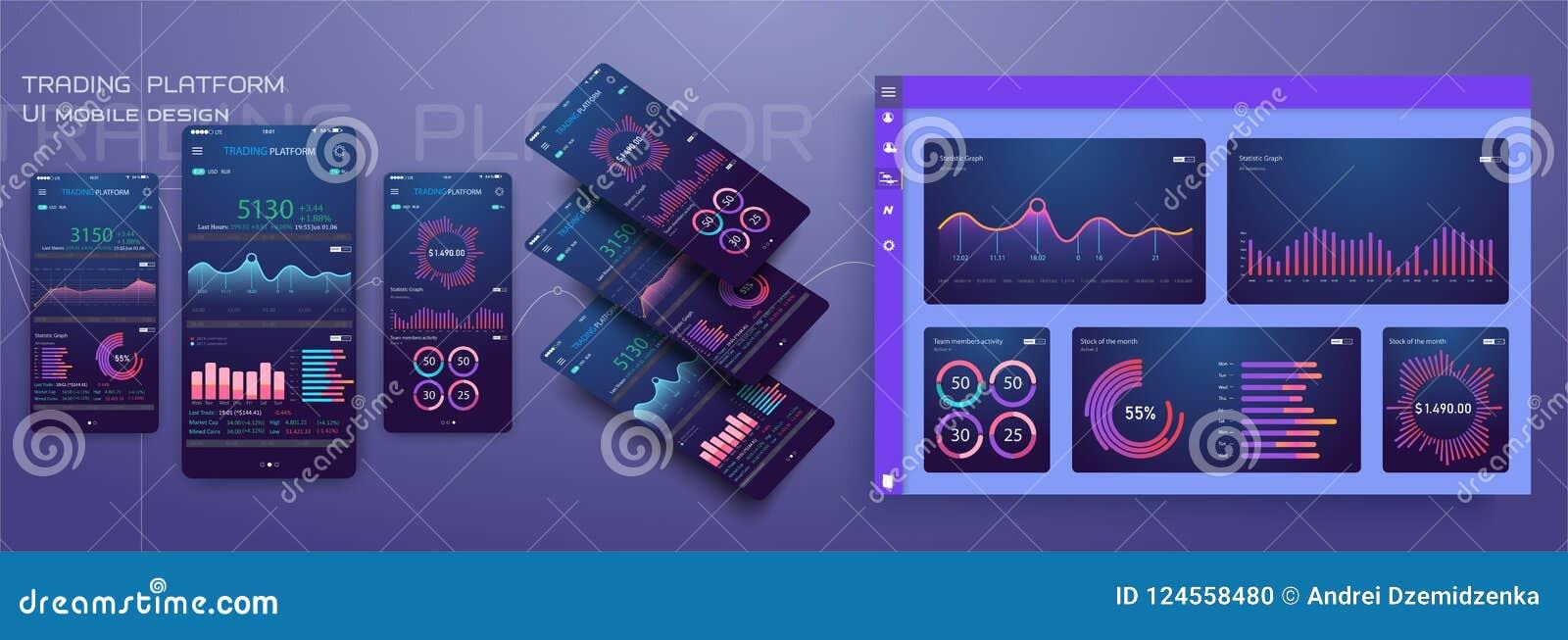 Gestión responsiva del diseño plano y plantilla móvil de Dashbord UI app de la administración en fondo moderno de moda