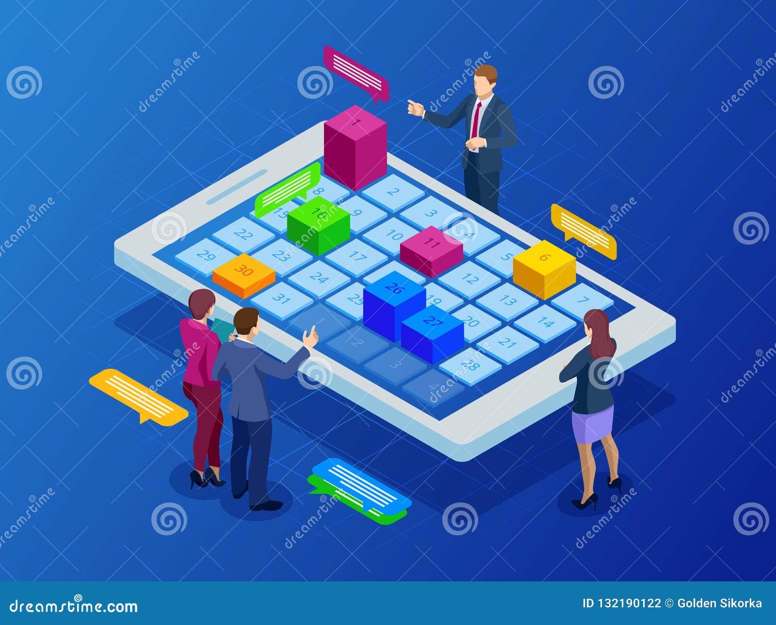 Gestión semanal en línea isométrica de la organización del planificador del horario y del calendario en smartphone o la tableta N