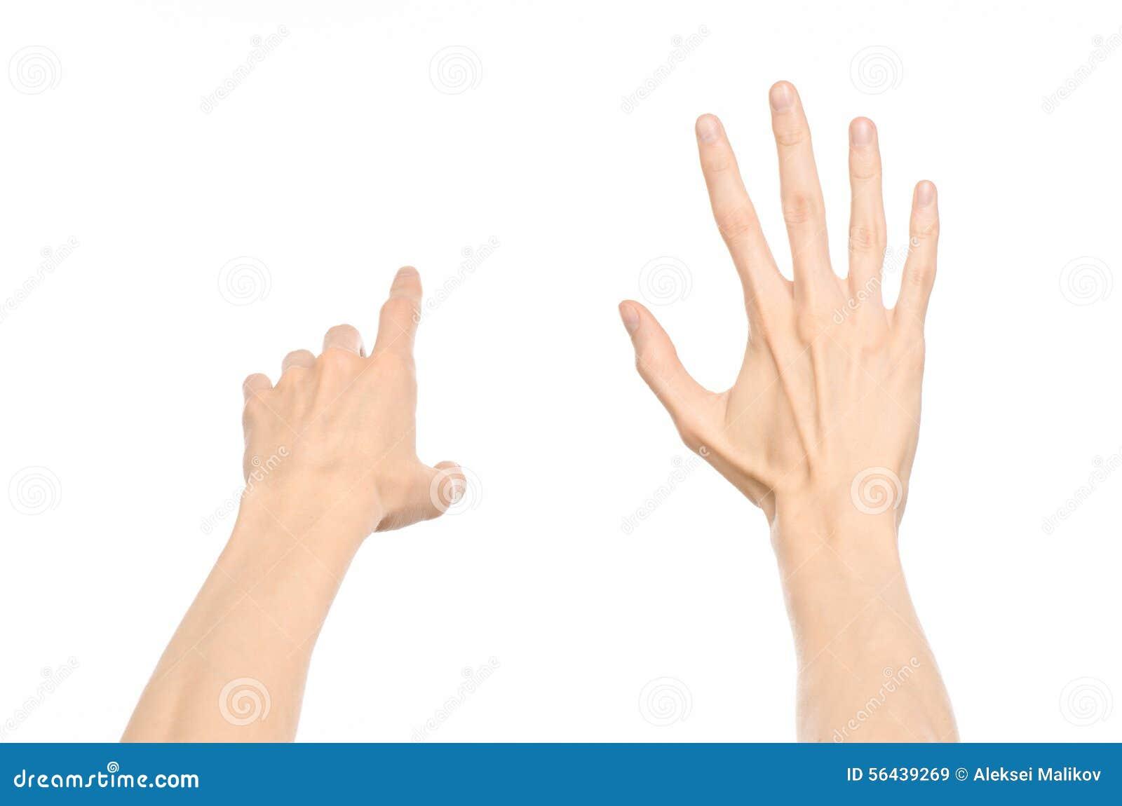 Gesticula tema: gestos de mano humanos que muestran la visión de primera persona aislada en el fondo blanco en estudio