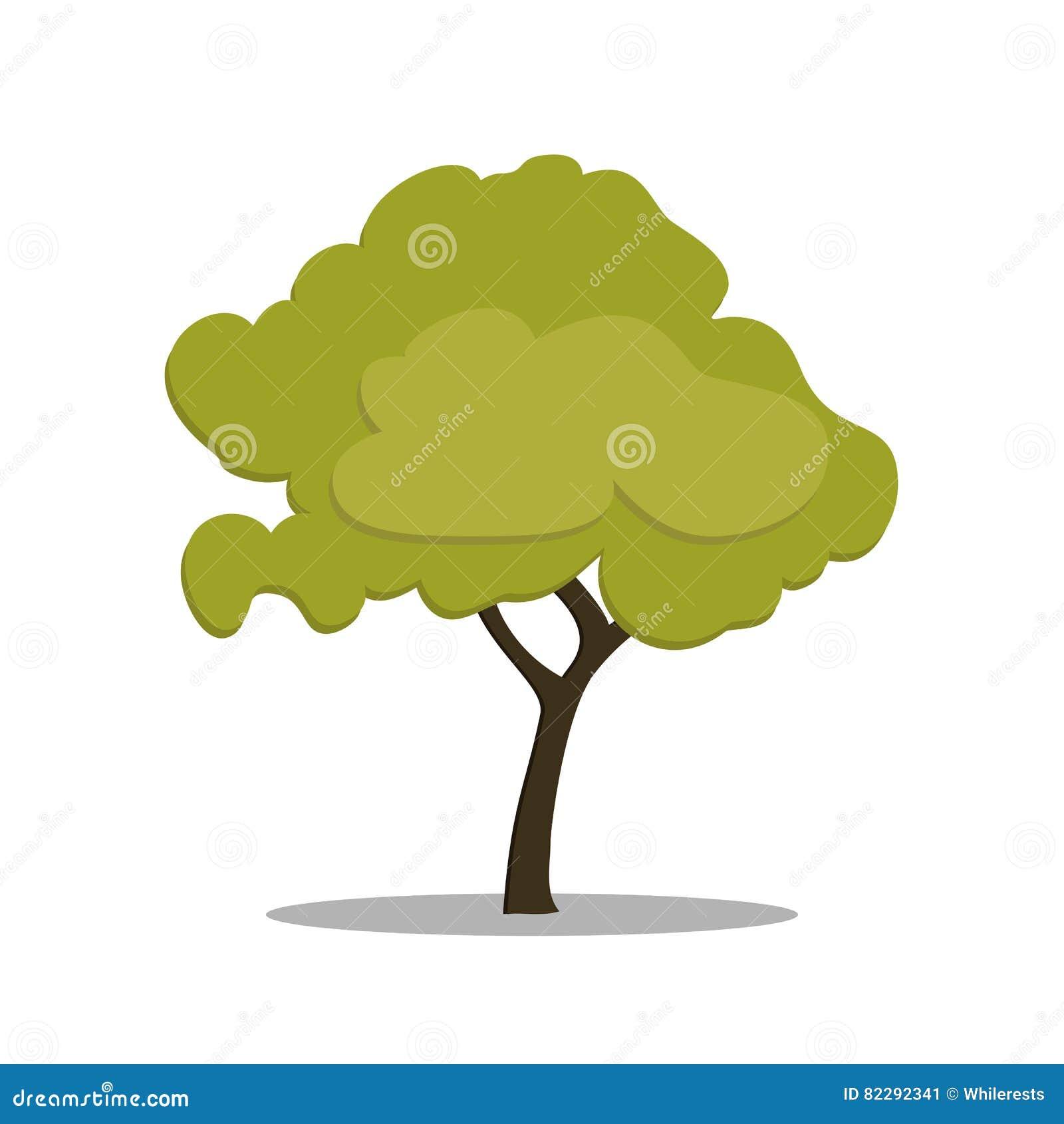 Gestileerde groene boom in beeldverhaalstijl Vector die op witte achtergrond wordt geïsoleerd