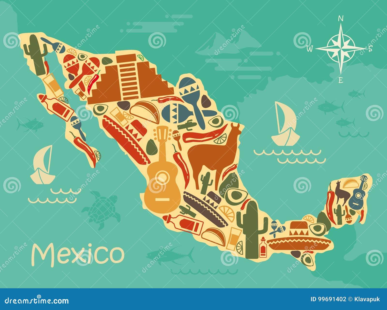 Gestileerde kaart van Mexico