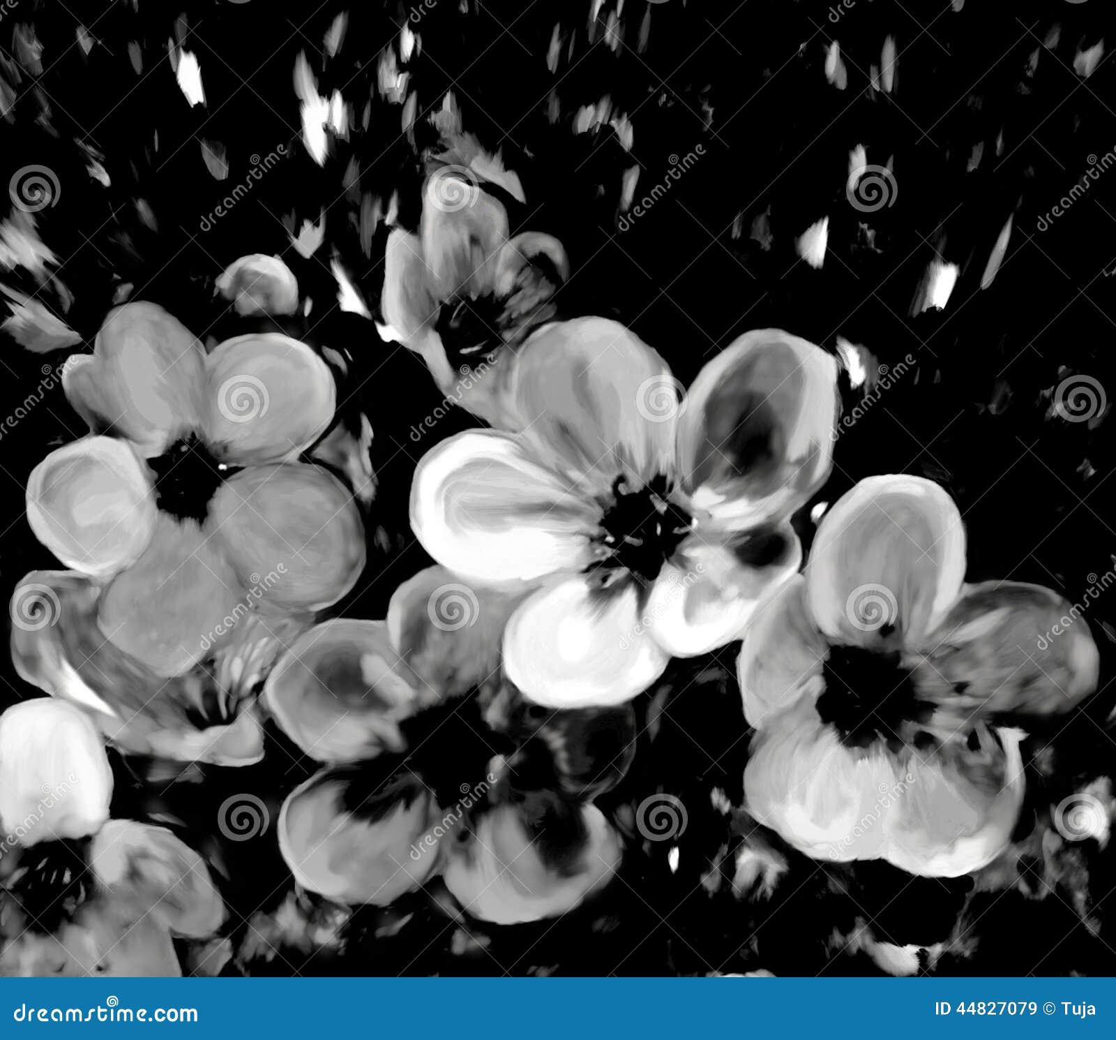 Gestileerde kersenbloemen in zwart-witte kleuren