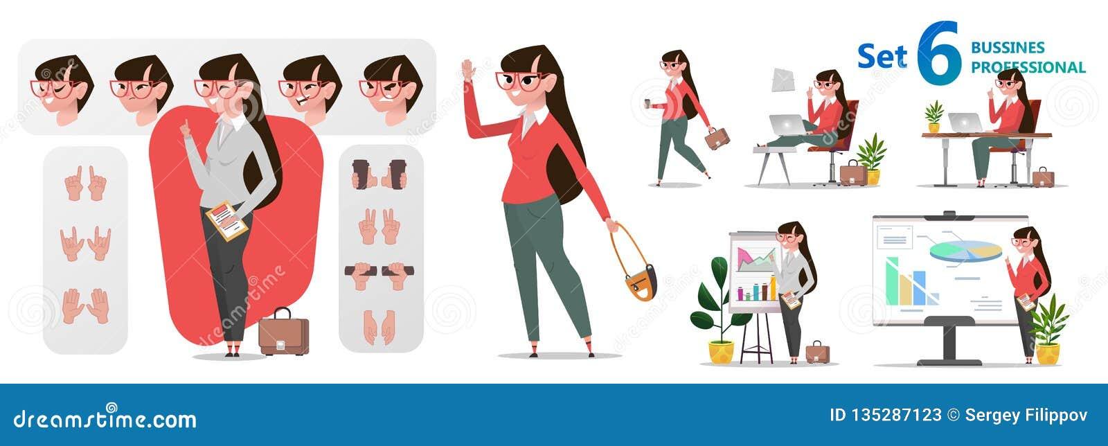 Gestileerde set van tekens voor animatie De beroepen van het vrouwenbureau