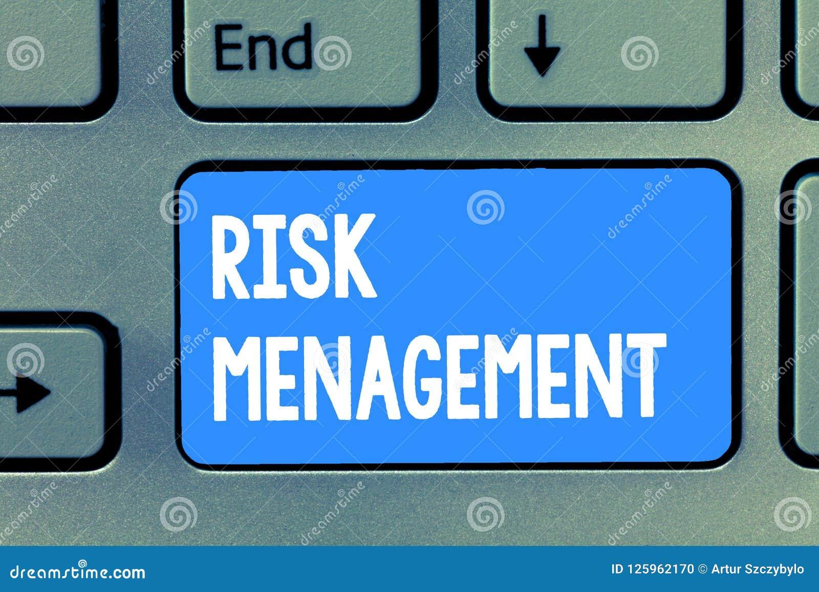 Gestione dei rischi del testo di scrittura di parola Concetto di affari per la valutazione dei rischi o dei problemi finanziari c