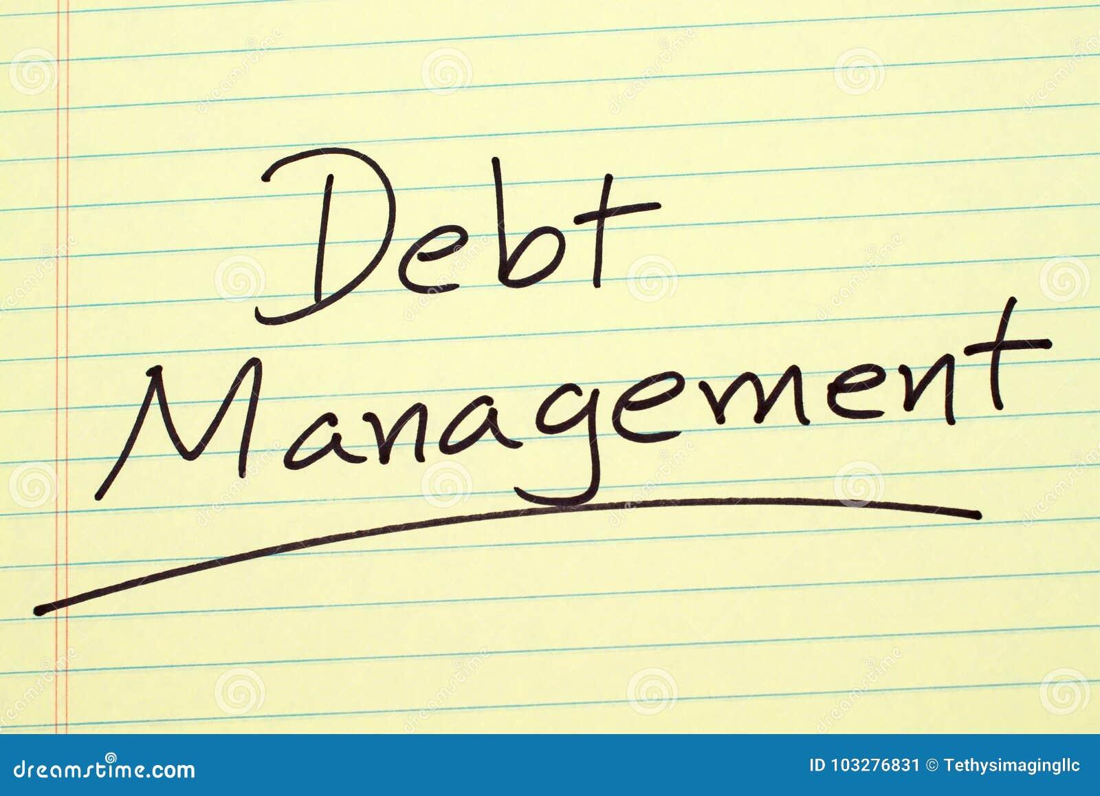 Gestione di debito su un blocco note giallo