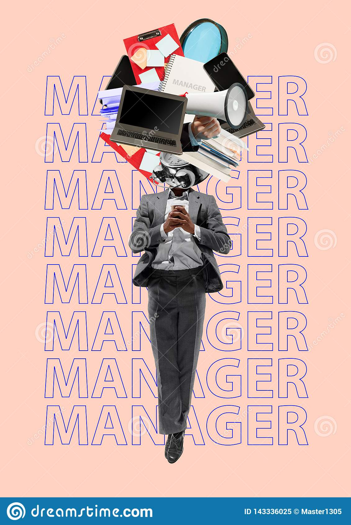 Gestionnaire Conception moderne Collage d art contemporain