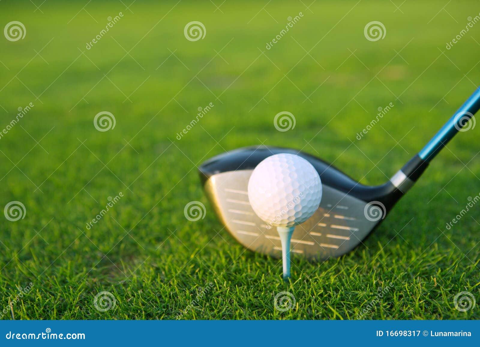 Gestionnaire de club de bille de té de golf dans le cours d herbe verte