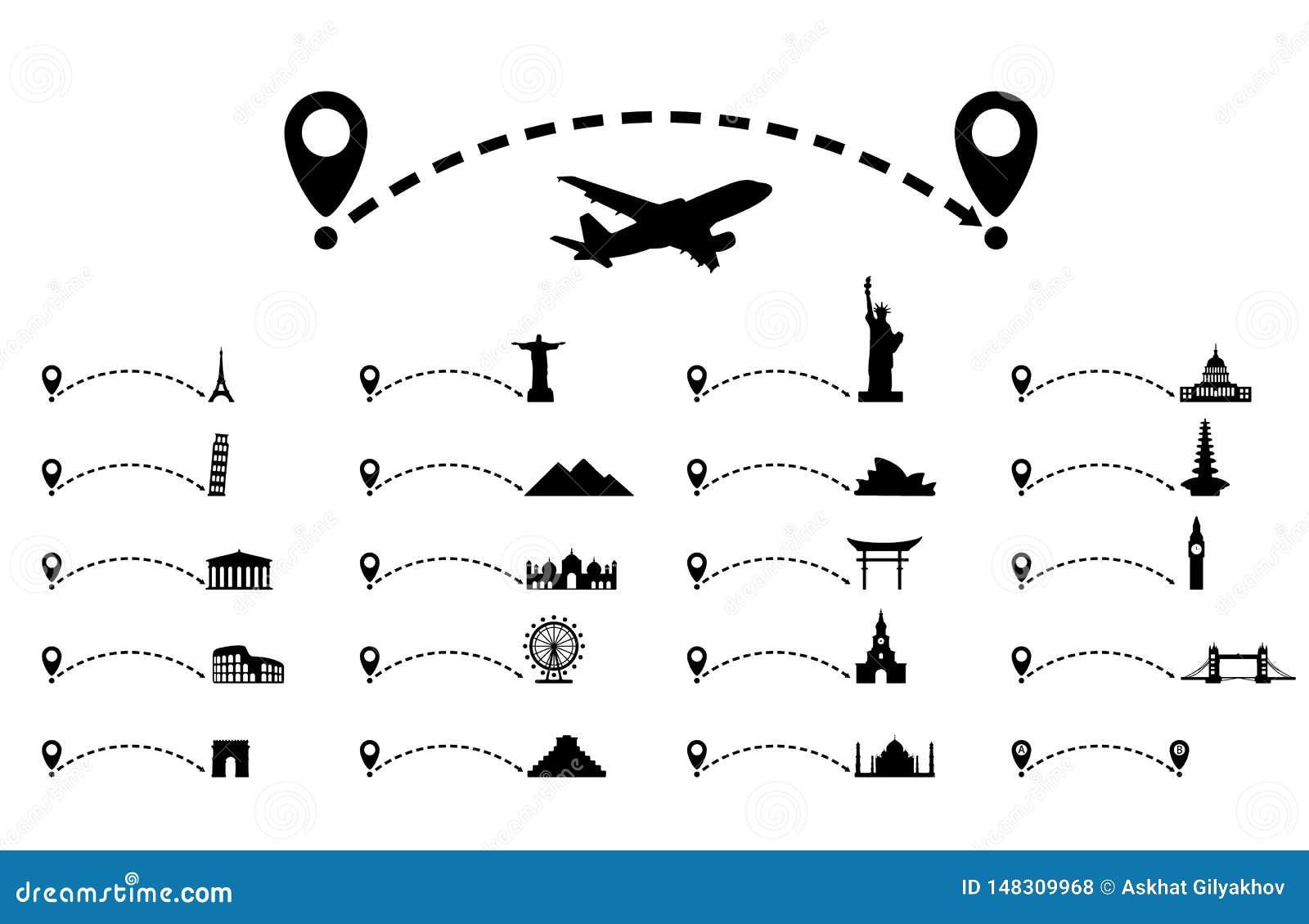 Gestippelde lijnweg met kaartwijzer, culturele aantrekkelijkheid reis concept