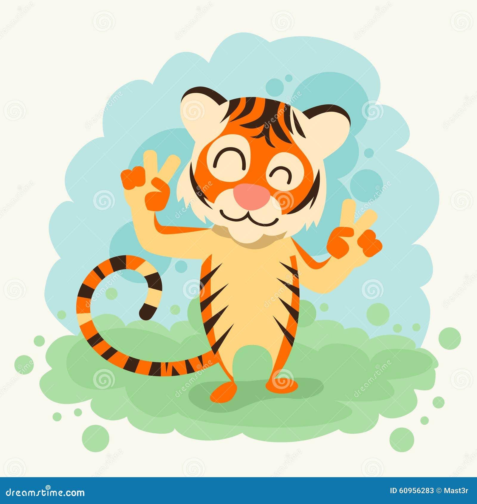 gesto da paz de tiger smile show two finger dos desenhos animados