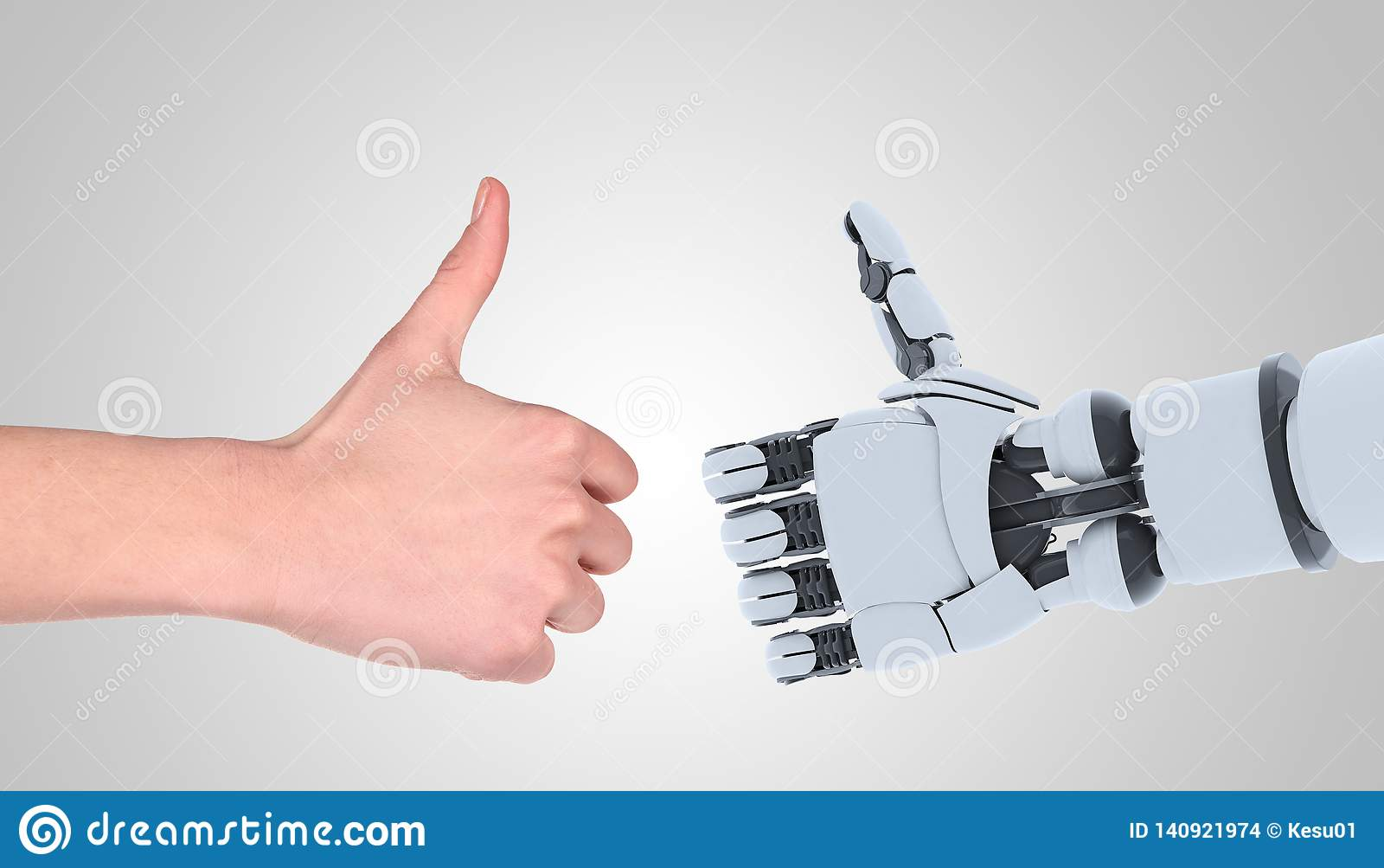 Gesto de la demostración de las manos del robot y del hombre, aislado en blanco