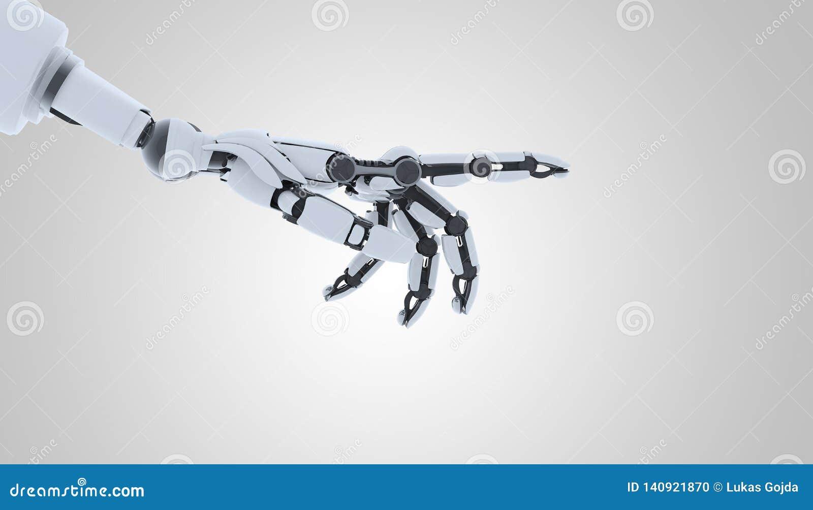 Gesto de la demostración de la mano del robot, aislado en el fondo blanco