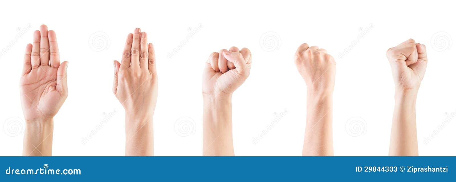 Gesto de mão da mulher