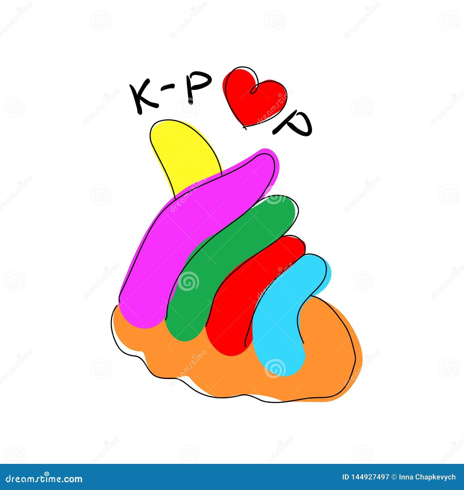 Gesto di mano coreano del segno di amore di K-schiocco di musica pop