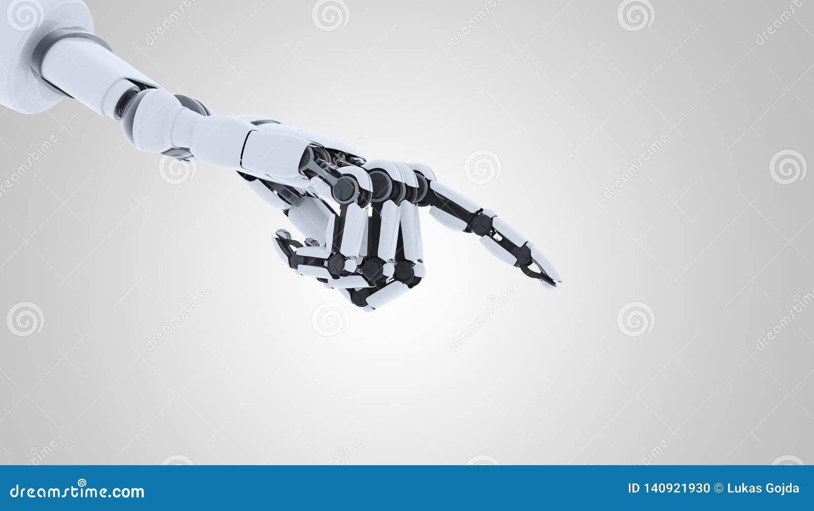 Gesto di rappresentazione della mano del robot, isolato su fondo bianco