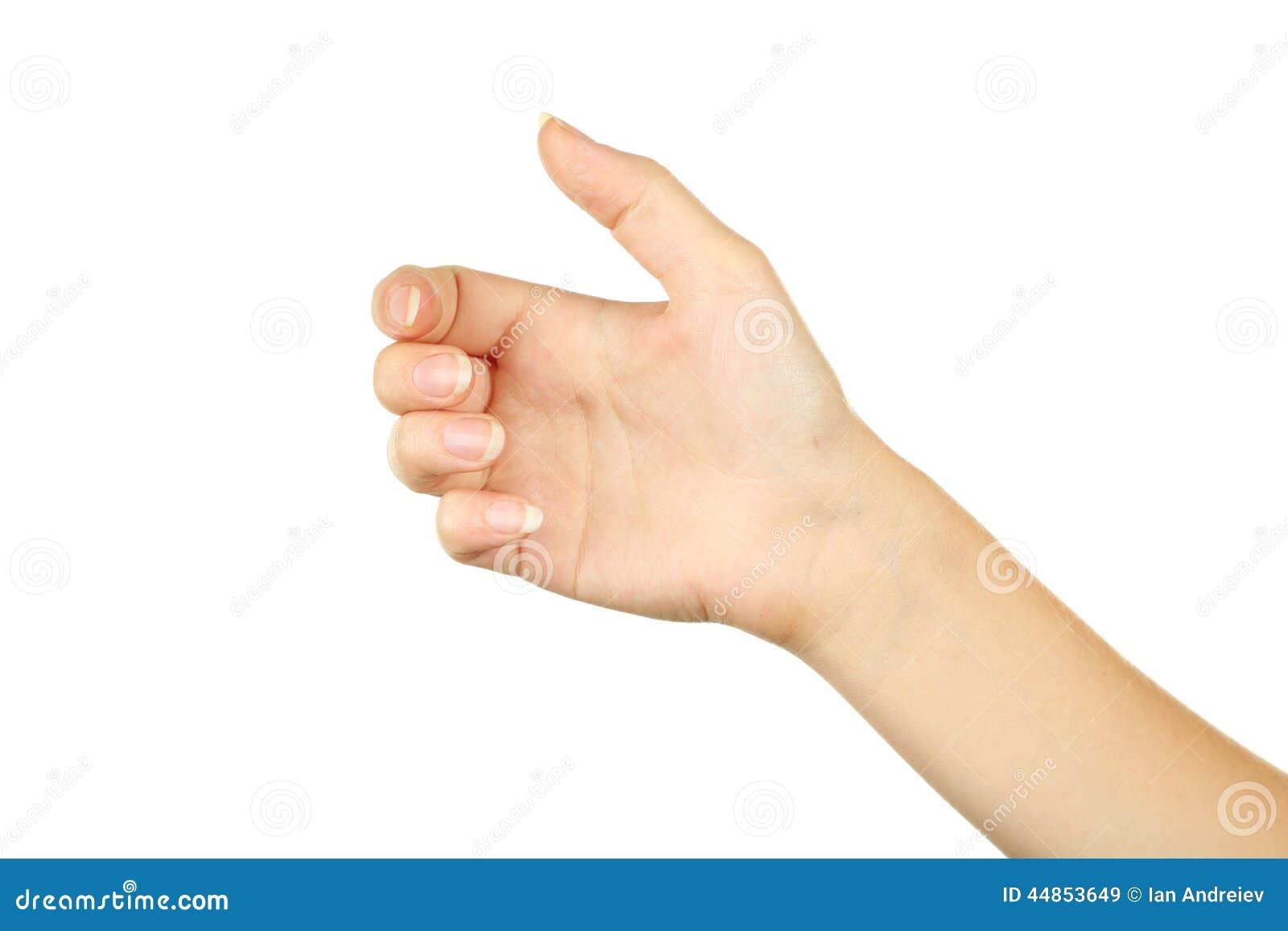 Gestos de mano femeninos, cierre para arriba