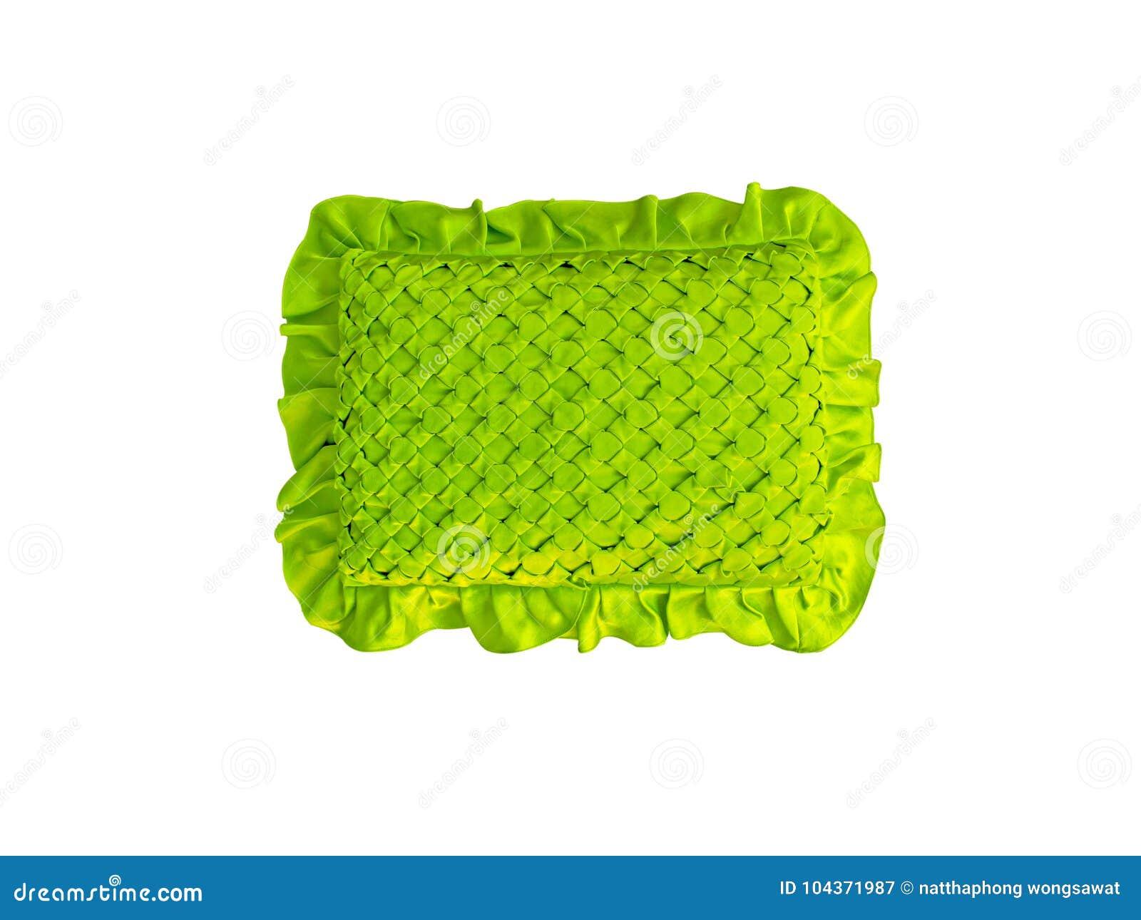 Gestreept Hoofdkussen Thailand, Groen met de hand gemaakt hoofdkussenpatroon