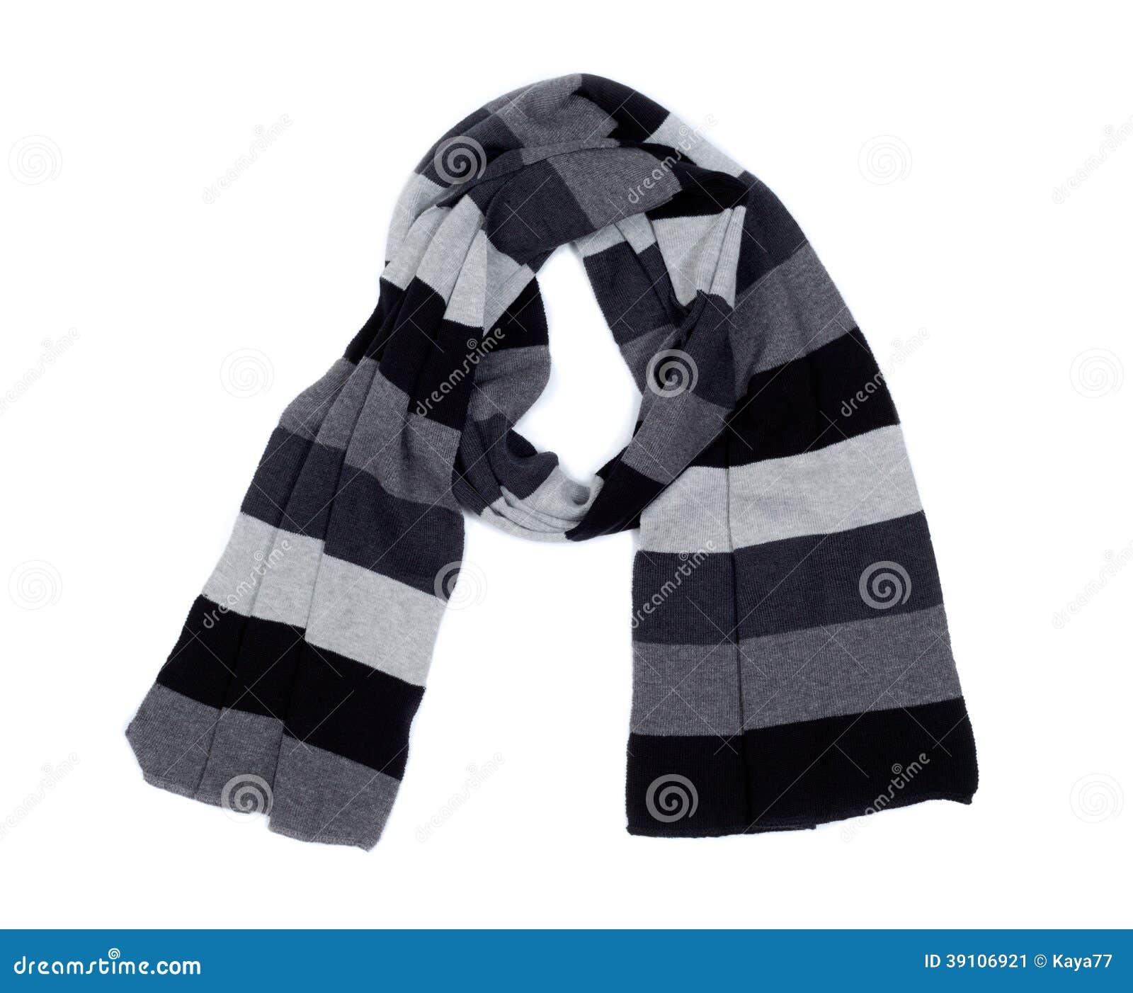 Gestreepte gebreide sjaal.