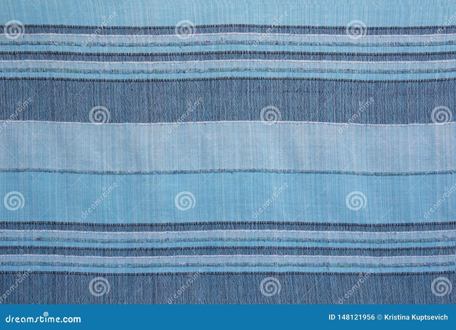 Gestreepte textuur van blauwe natuurlijke binnenlandse stof