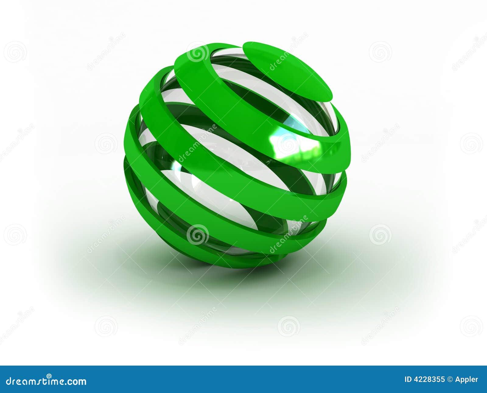 gestreifte grüne glaskugel lizenzfreies stockfoto - bild: 4228355, Wohnzimmer dekoo