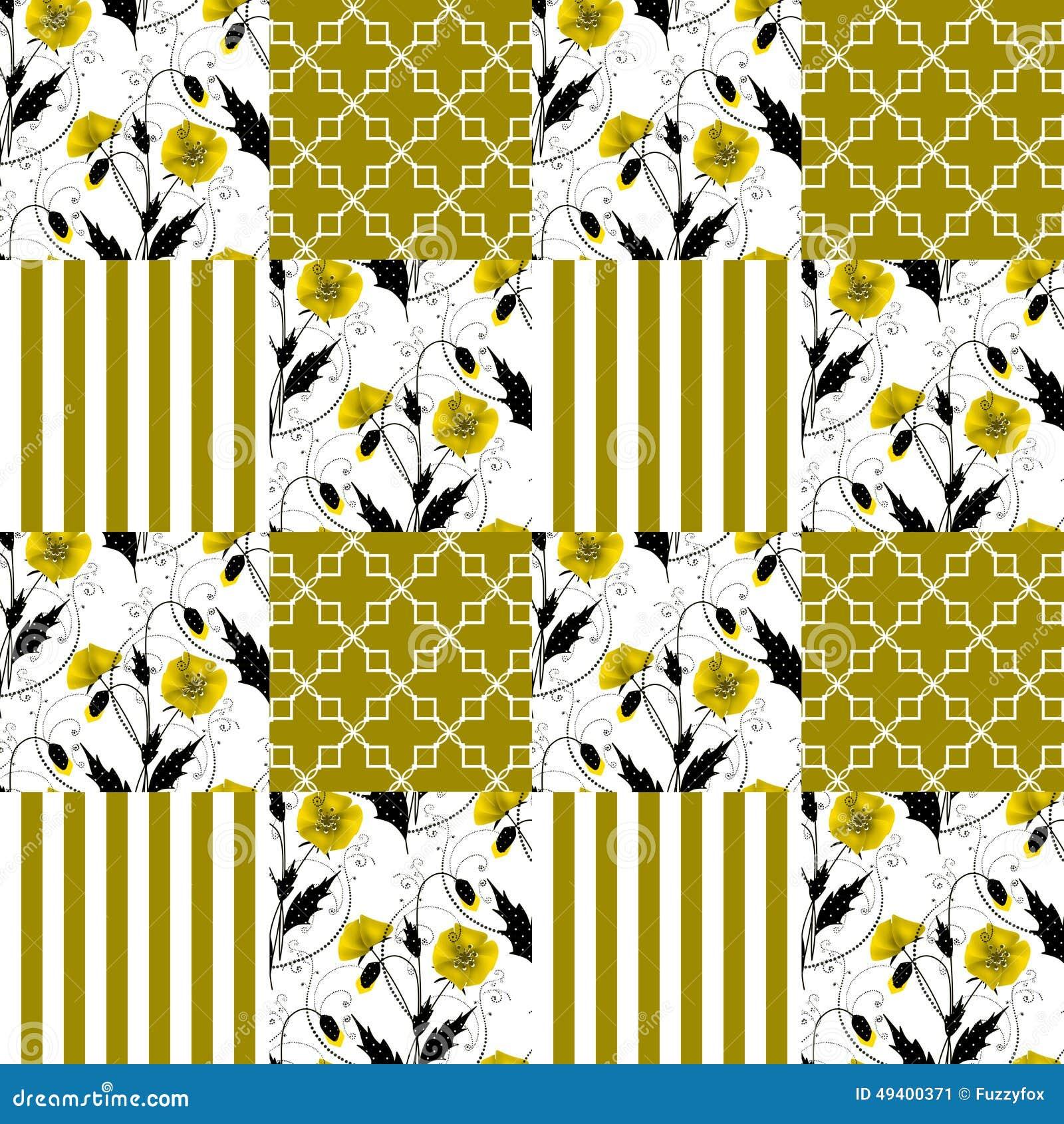 Download Gestreifter Hintergrund Patchworkdes Nahtlosen Blumenmohnblumen-Musters Stock Abbildung - Illustration von schwarzes, zeichnung: 49400371