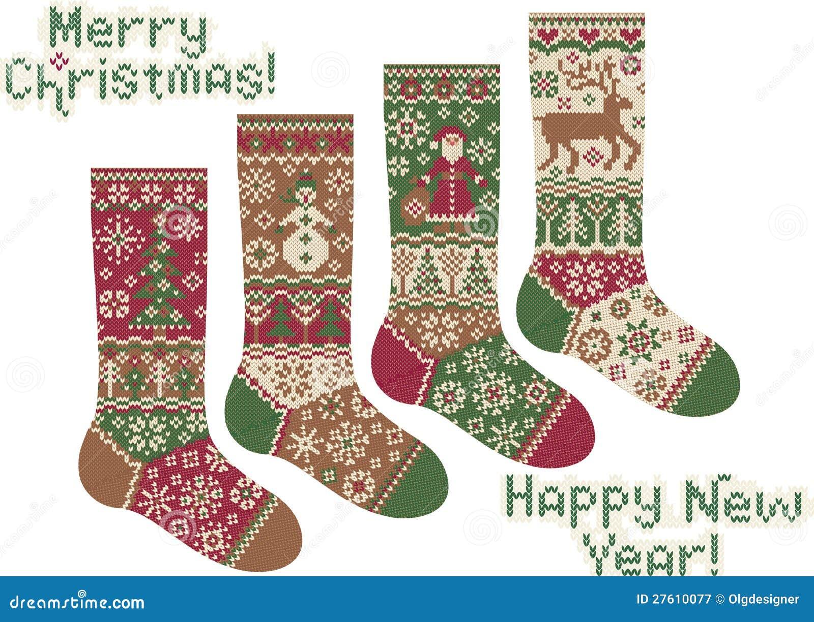 Gestrickte Socken. Frohe Weihnachten Und Neues Jahr! Vektor ...