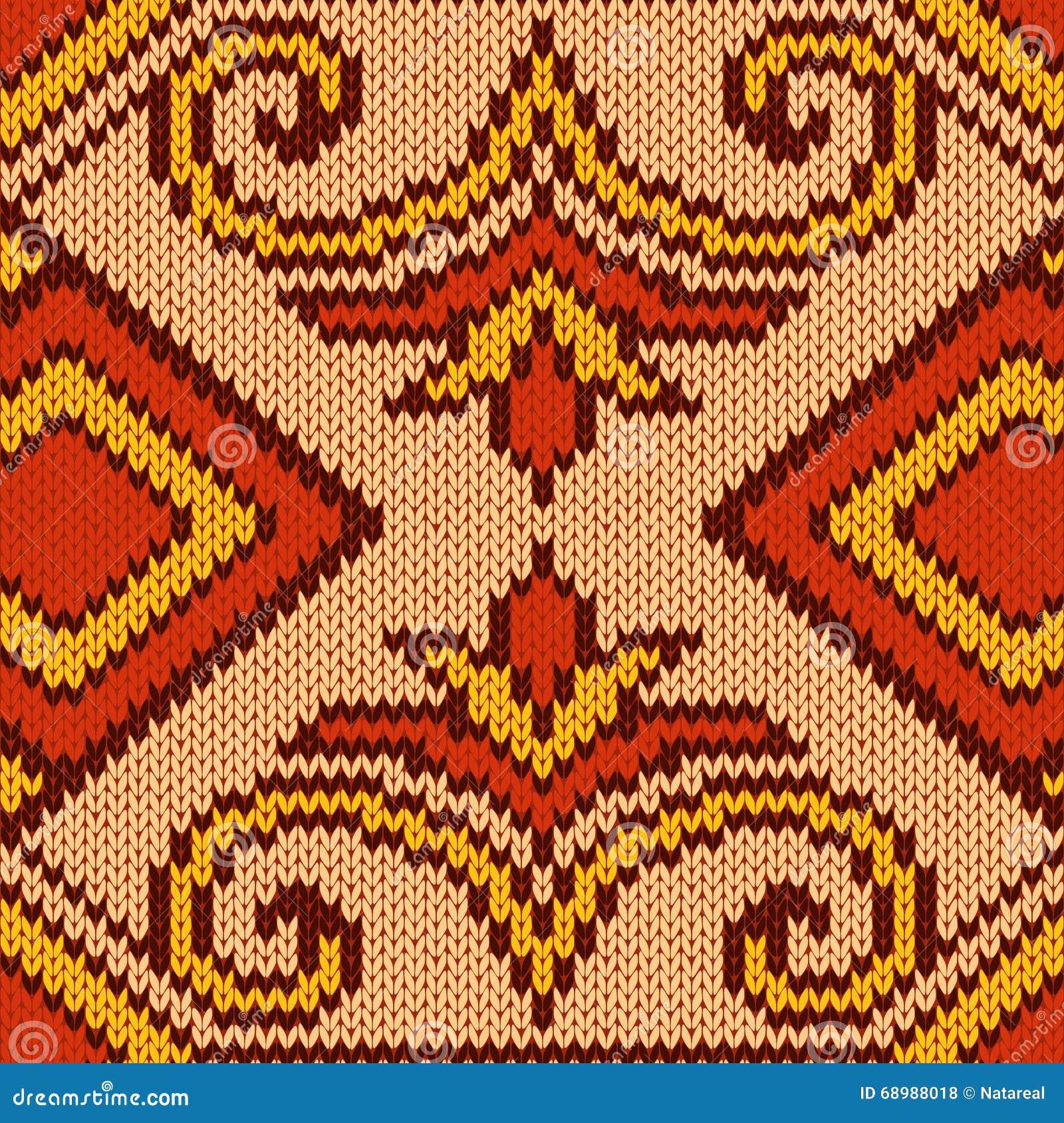 Gestricktes nahtloses Muster hauptsächlich im Rot und im Gelb