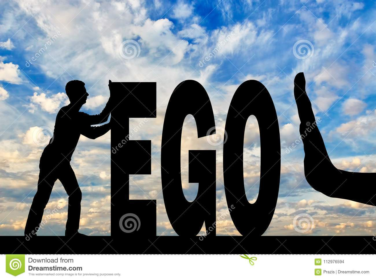 Gesture of the hand stop and silhouette of the man pushing the word ego