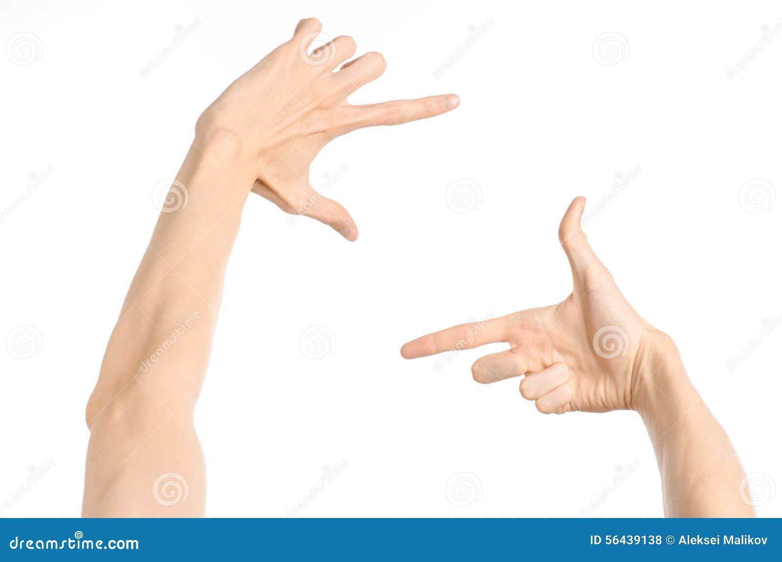 Gestures l argomento: gesti di mano umani che mostrano vista in prima persona isolata su fondo bianco nello studio