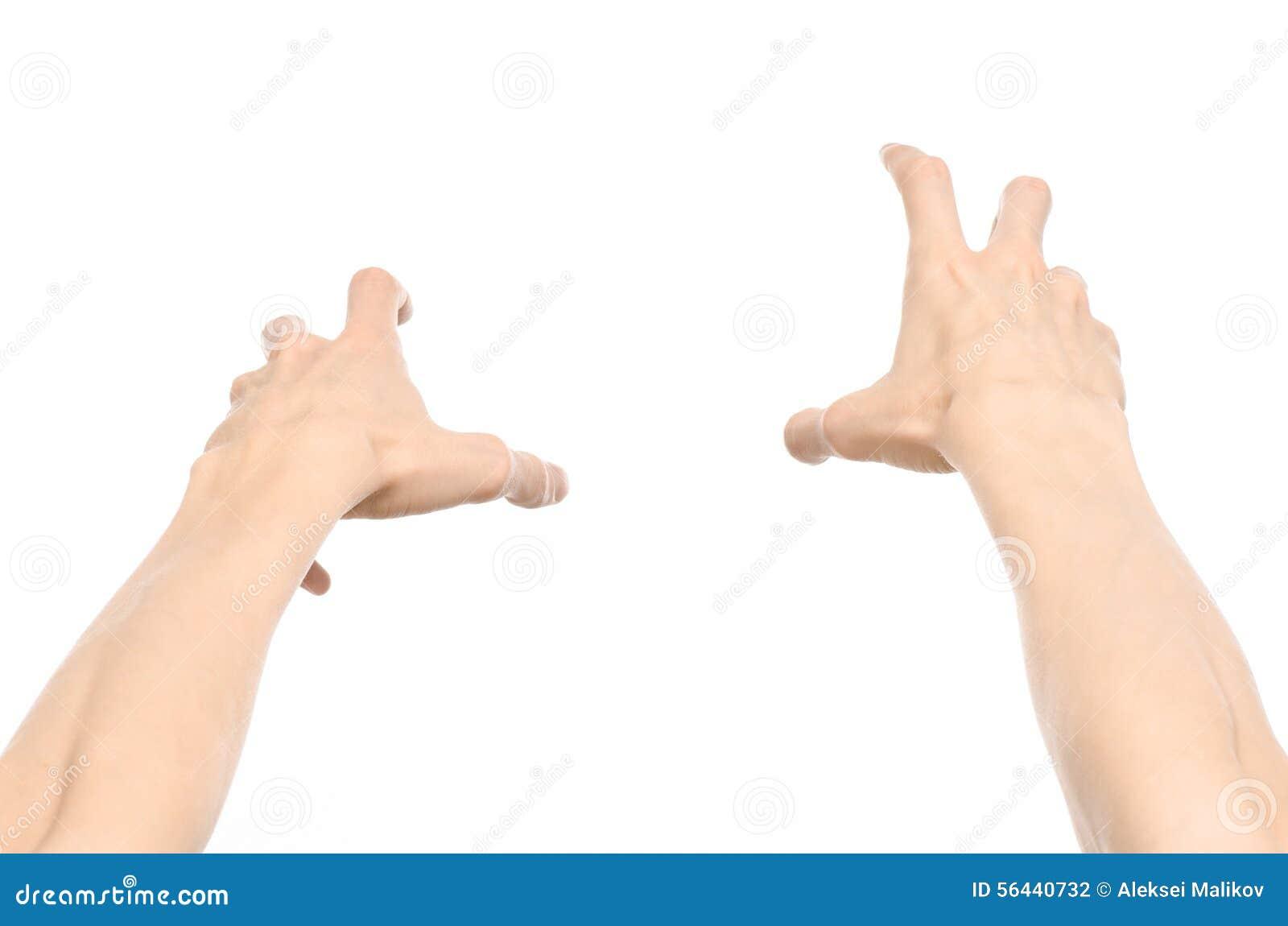 Gestykuluje temat: ludzcy ręka gesty pokazuje osoba widok odizolowywającego na białym tle w studiu