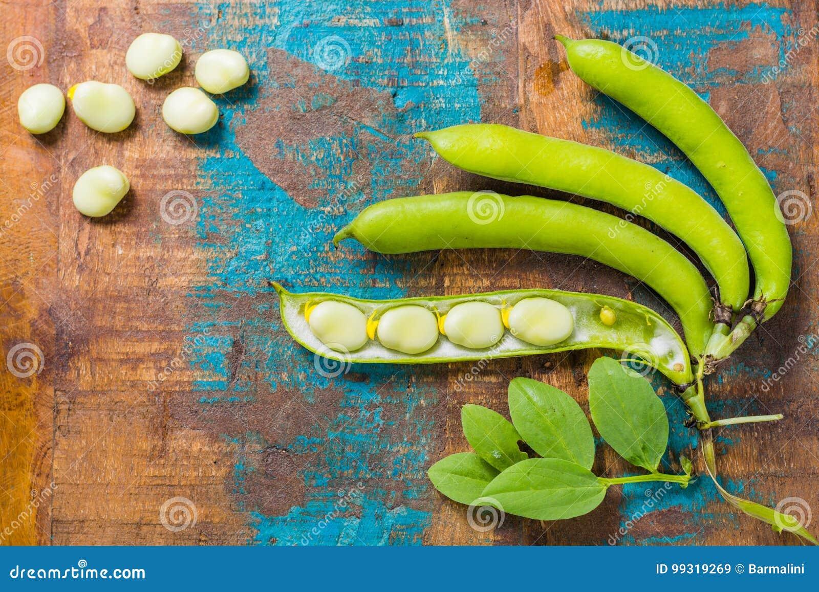 Gesunde frische Hülsenfrüchte, neue Ernte auf breiten weißen Bohnen aus Lima