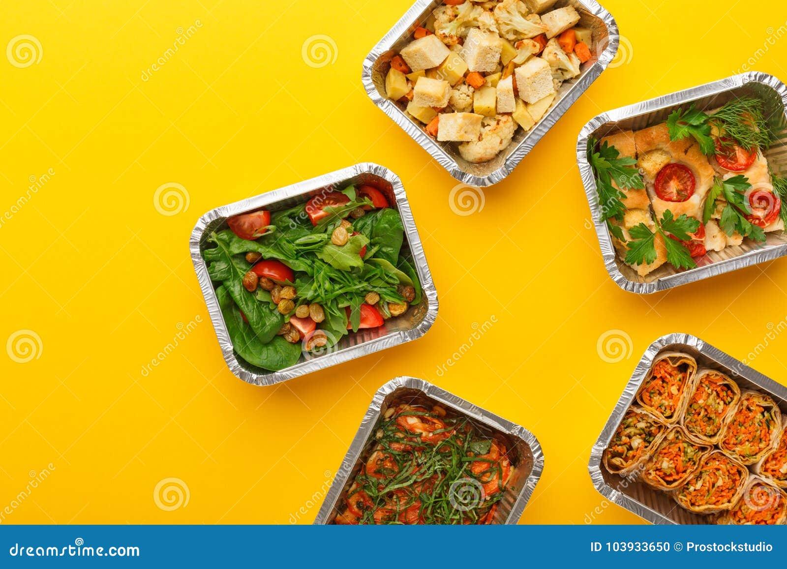 Gesunde Mahlzeitlieferung Rechtes Konzept essend, kopieren Sie Raum, Draufsicht