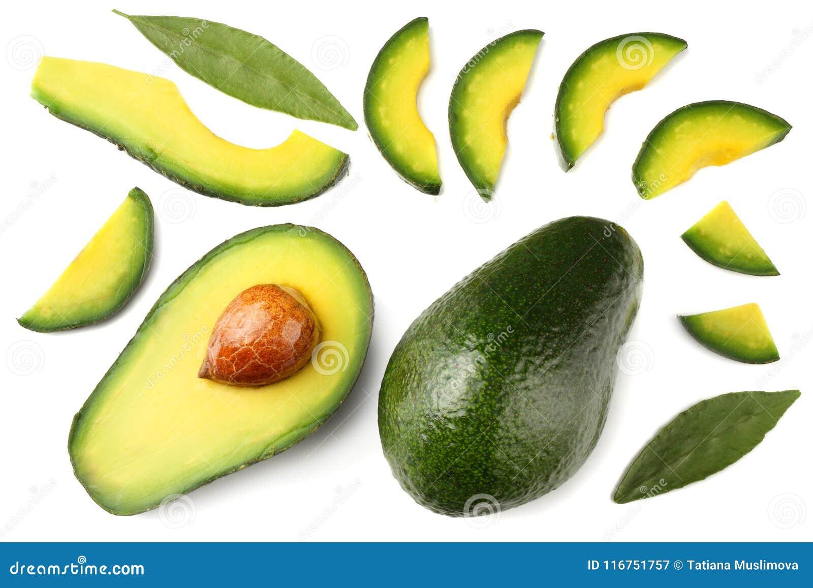 Gesunde Nahrung Geschnittene Avocado lokalisiert auf weißem Hintergrund Beschneidungspfad eingeschlossen